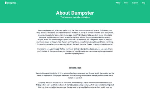 Screenshot of About Page dumpsterapp.mobi - About - captured Oct. 5, 2018