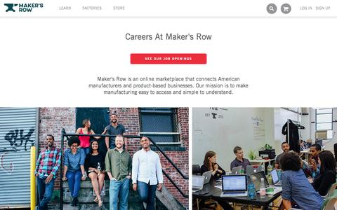 Screenshot of Jobs Page makersrow.com - Jobs | Maker�s Row - Factory Sourcing Made Easy - captured Oct. 26, 2015