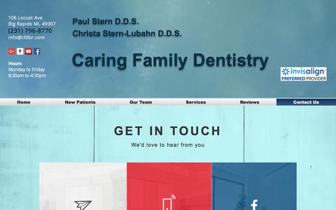 Screenshot of Contact Page cfdbr.com - Big Rapids Dentist Dr Paul Stern Dr. Christa Stern Invisalign braces | Contact Us - captured July 15, 2017