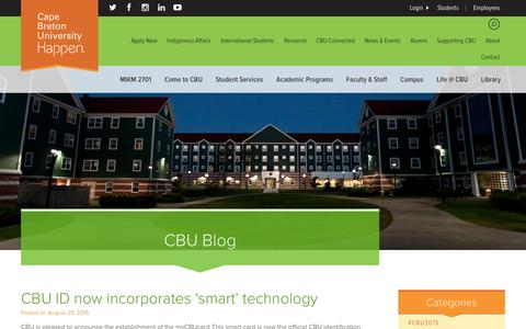 Screenshot of Blog cbu.ca - CBU ID now incorporates 'smart' technology | Cape Breton University - captured Sept. 5, 2016