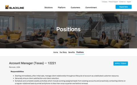 Screenshot of Jobs Page blackline.com - Account Manager (Texas)| Remote, United States, United States - captured Nov. 29, 2019