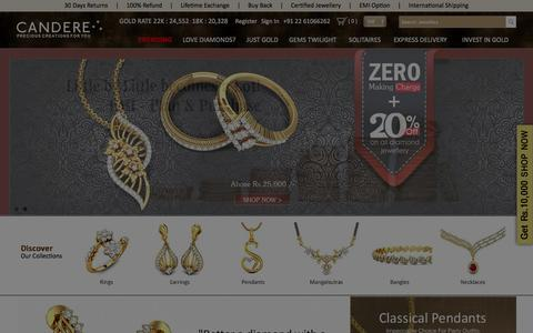 Screenshot of Home Page candere.com - Buy Gold Jewellery Online in India | Online Jewellery Shopping - captured Jan. 25, 2016