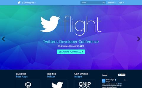 Screenshot of Developers Page twitter.com - Twitter Developers - captured Nov. 11, 2015