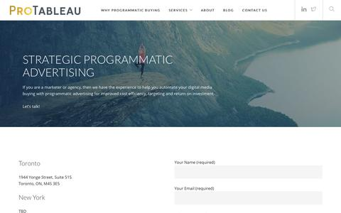 Screenshot of Contact Page programmatictableau.com - Programmatic Advertising – Digital Media | ProTableau - captured July 6, 2018