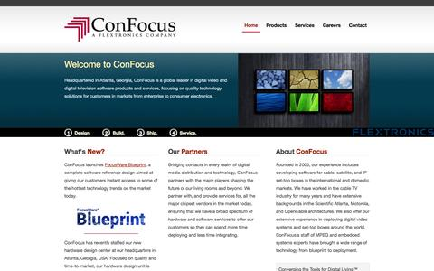 Screenshot of Home Page confocus.com - ConFocus, a Flextronics Company - captured Oct. 3, 2014