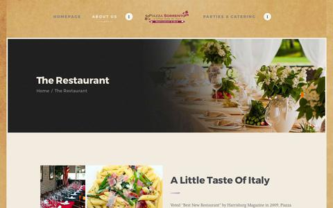 Screenshot of About Page piazzasorrento.com - The Restaurant – Piazza Sorrento - captured July 18, 2018