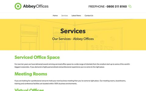 Screenshot of Services Page abbeyoffices.com - Our Services - Abbey Business Centres - captured Nov. 12, 2018