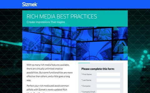 Screenshot of Landing Page sizmek.com - Sizmek Rich Media Best Practices - captured July 24, 2017