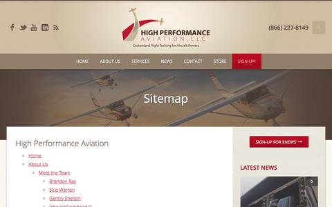 Screenshot of Site Map Page flyhpa.com - Sitemap | High Performance Aviation, LLC | Customized Flight Training for Aircraft Owners - captured Nov. 8, 2016