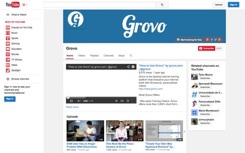 Screenshot of YouTube Page youtube.com - Grovo  - YouTube - captured Oct. 22, 2014
