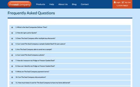 Screenshot of FAQ Page thesealcompany.co.uk - FAQ - captured Nov. 7, 2018