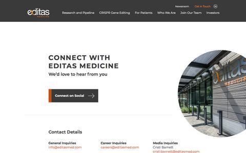 Screenshot of Contact Page editasmedicine.com - Contact Us | Editas Medicine - captured Dec. 25, 2019