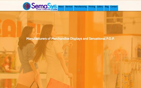 Screenshot of Home Page semasys.com - SemaSysManufacturers of Merchandising Displays and P.O.P. - captured Sept. 21, 2018