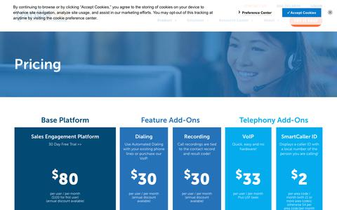 Screenshot of Pricing Page vanillasoft.com - Product Pricing - captured Sept. 21, 2018