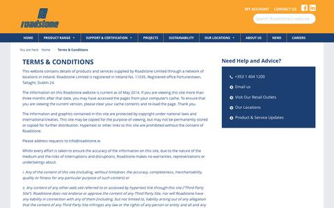 Screenshot of Terms Page roadstone.ie - Terms & Conditions   Roadstone - Leading Building Material Supplier - captured Nov. 2, 2017