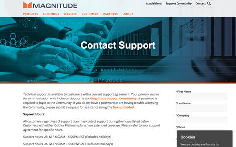 Screenshot of Support Page magnitude.com - Contact Support   Support   Magnitude Software - captured Oct. 3, 2019