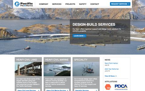 Screenshot of Home Page pacificpile.com - Pacific Pile - captured Oct. 1, 2014