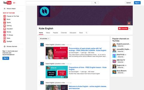 Screenshot of YouTube Page youtube.com - Kube English  - YouTube - captured Oct. 27, 2014