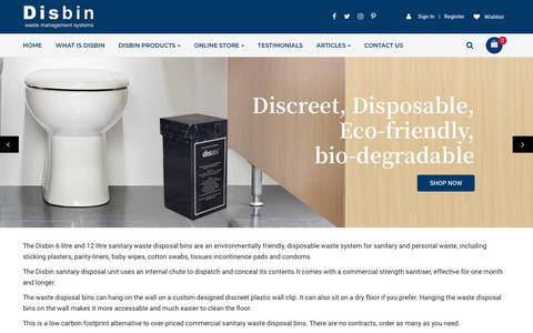 Screenshot of Home Page disbin.com - Disbin disposable sanitary bin - captured Nov. 14, 2018