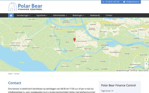 Screenshot of Contact Page polarbear.lu - Verzekeringen \ Gezinspakket - Polar Bear Finance Control, Spijkenisse - captured Nov. 8, 2016