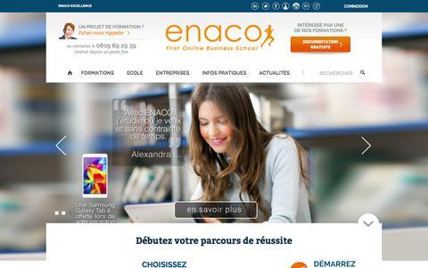 Screenshot of Home Page enaco.fr - Ecole de Commerce   Formations ˆ distance du BTS au Bac+5 - captured Jan. 19, 2016
