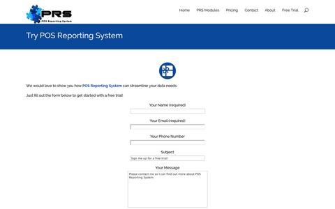 Screenshot of Trial Page posreporting.com - Free Trial - POS Reporting System - captured Oct. 1, 2014
