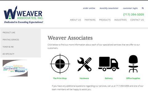 Screenshot of Products Page weaverassociatesinc.com - Commercial Printing Services | Lancaster PA | Weaver Associates - captured Sept. 21, 2018