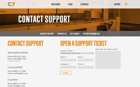 Screenshot of Support Page c7.com - Contact Support - captured Oct. 28, 2014