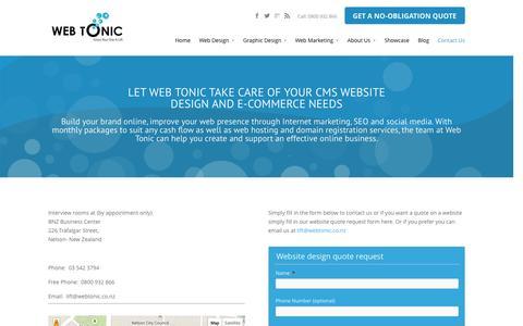 Screenshot of Contact Page webtonic.co.nz - Contact Web Tonic, Nelson New Zealand - captured Nov. 5, 2014