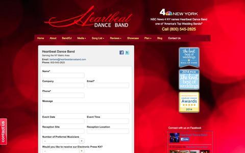 Screenshot of Contact Page heartbeatdanceband.com - Contact Us! | Heartbeat Dance Band - captured Oct. 2, 2014