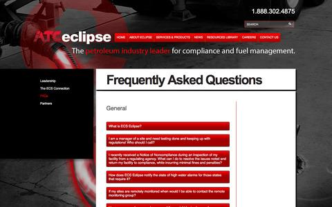 Screenshot of FAQ Page ecseclipse.com - Frequently Asked Questions- Fuel System Management- Fuel Inventory- Tank Monitoring - ECS Eclipse Fuel System Management - captured May 12, 2017