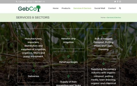 Screenshot of Services Page gebco.co.za - Services & Sectors - GebCo - captured Sept. 27, 2018