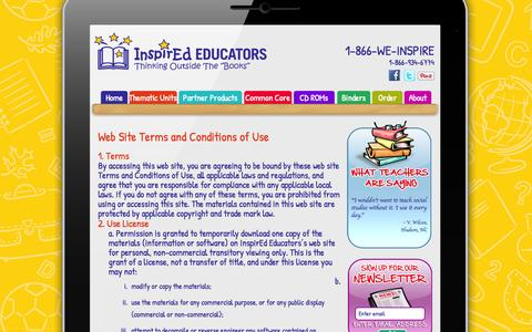 Screenshot of Terms Page inspirededucators.com - Web Site Terms and Conditions of Use | InspirEd Educators - captured Oct. 6, 2014