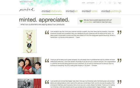 Screenshot of Testimonials Page minted.com - Minted.com: Wedding Invitations, Party Invitations, Baby Shower, Birthday & Save The Date Cards - captured Feb. 15, 2017