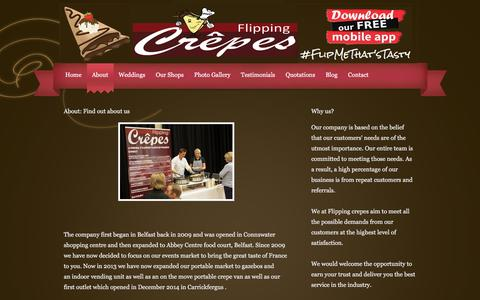 Screenshot of About Page flippingcrepes.co.uk - Crepes, Belfast, Northern Ireland - Flipping Crepes - captured Aug. 15, 2018