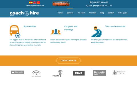 Screenshot of Services Page spaincoachhire.com - Services - Spain Coach Hire - captured Oct. 20, 2018