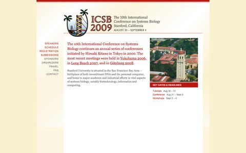 Screenshot of Home Page icsb-2009.org - ICSB 2009 | The 10th International Conference on Systems Biology - captured Oct. 8, 2015
