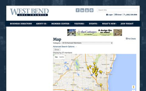Screenshot of Maps & Directions Page wbachamber.org - Map - West Bend Area Chamber of Commerce, WI - captured Feb. 14, 2016