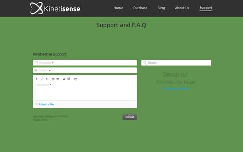 Screenshot of Support Page kinetisense.com - Kinetisense - captured Sept. 30, 2014