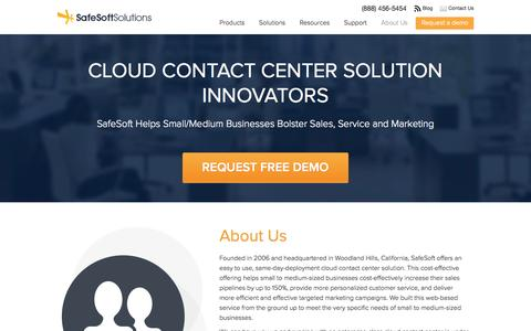 Screenshot of About Page safesoftsolutions.com - About Us | SafeSoft Solutions Cloud-based Call Center - captured Sept. 19, 2014