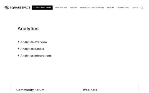 Screenshot of Support Page squarespace.com - Squarespace Help - Analytics – Squarespace Help - captured Feb. 11, 2019