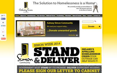 Screenshot of Home Page galwaysimon.ie - Galway Simon Community > Home - captured Sept. 23, 2014