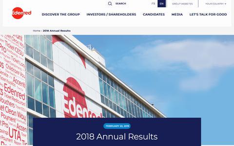 Screenshot of Press Page edenred.com - 2018 Annual Results   Edenred - captured July 8, 2019