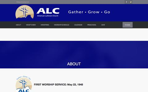 Screenshot of About Page americanlutheran.net - About | AMERICAN LUTHERAN CHURCH - captured Oct. 8, 2017