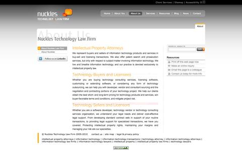 Screenshot of About Page nuckleslaw.com - Intellectual Property Attorneys | Software Licensing | Information Technology Transactions - captured Oct. 26, 2014