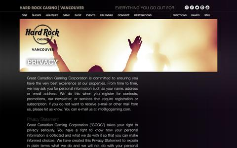 Screenshot of Privacy Page hardrockcasinovancouver.com - Privacy - Hard Rock Casino Vancouver : Hard Rock Casino Vancouver - captured Sept. 22, 2014