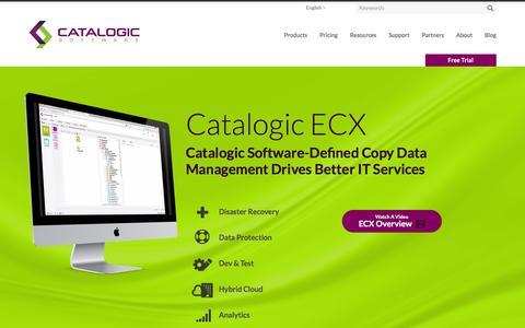Screenshot of Products Page catalogicsoftware.com - Catalogic ECX 2.0: Next Generation Data Protection   Catalogic Software - captured Jan. 26, 2016