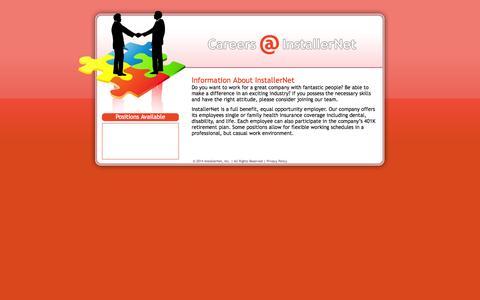 Screenshot of Jobs Page installernet.com - Careers - captured Sept. 19, 2014