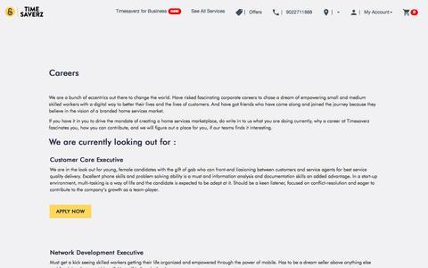 Screenshot of Jobs Page timesaverz.com - Timesaverz - Careers - We're Hiring! - captured Sept. 24, 2018
