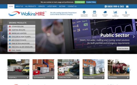 Screenshot of Home Page watkinshire.co.uk - Watkins Hire - The UK's Leading Specialist Temperature Control Rental Solutions Company - captured Feb. 17, 2016